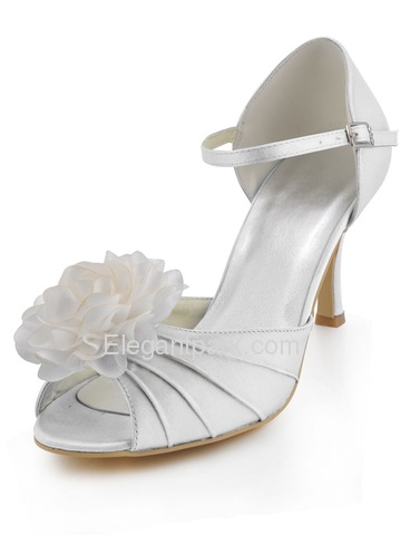 Elegantpark Blue Peep Toes Stiletto Heel Flowers Pleats Evening Wedding Party Shoes (EP2073)
