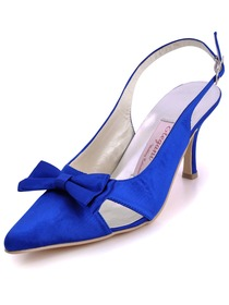Elegantpark Modern Blue Satin Pointy Toes Stiletto Heel Bridal Shoes