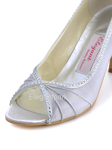 Elegantpark Silver PeepToe Satin Beading Stiletto Heel Bridal Shoes (EP11032)