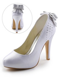 Elegantpark Satin Closed Toe Stiletto Heel Inside Platform Rhinestones Evening&Party Shoes With Bowknot
