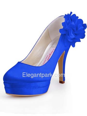 Elegantpark Satin Stiletto Heel Almond Toe Platform Shoes With Flower (EP11065-2PF)