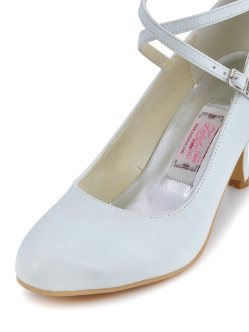 Elegantpark Pretty White Almond Toe Cross Ankle Buckle PU Evening Wedding Party Shoes (EP31032)