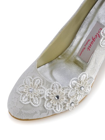 Elegantpark Ivory Almond Toe Lace Stiletto Heel Bridal Wedding Shoes with Flower (EP11099)