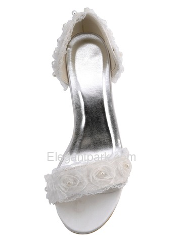 Elegantpark White Open Toe Stiletto Heel Satin Flowers with Pearls Wedding Bridal Sandals (EP2107)