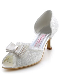 Elegantpark Ivory Peep Toe Bowknot Stiletto Heel Satin Lace Shoes