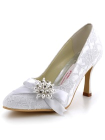 Elegantpark White Almond Toe Lace Pumps Stiletto Heel Pearls Wedding Bridal Shoes