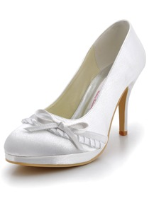 Elegantpark White Platforms Stiletto Heel Satin Wedding Party Shoes