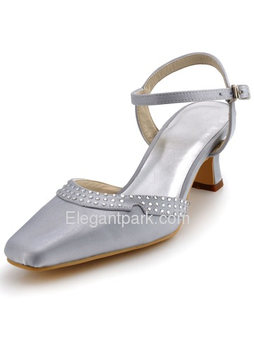 Elegantpark Satin Square Toe Chunky Heel Rhinestones Bridal Shoes With Buckle (EP11033)