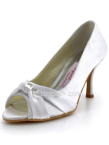 Elegantpark Champagne Elegant Satin Peep Toe Stiletto Heel Bridal Party Shoes (MM-014)