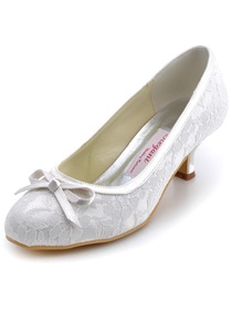 Elegantpark Ivory Almond Toe Bowknot Lace Wedding Evening & Party Shoes