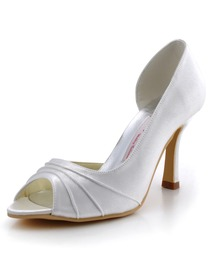Elegantpark White Peep Toe Stiletto Heel Satin Reception Shoes