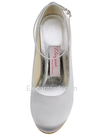 Elegantpark Silver Round Toe Buckle Wedges Satin Wedding Bridal Party Shoes (A610)