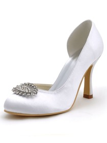 Elegantpark White Almond Toe Satin Rhinestones Stiletto Heel Bridal Pumps Shoes