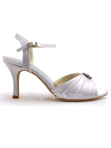 Elegantpark White Open Toe Rhinestones Satin Pleats Bridal Slingbacks Sandals (EP2114)