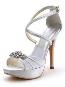 Elegantpark White Satin Cross Ankle Buckle Platform Wedding Party Sandals with Rhinestones