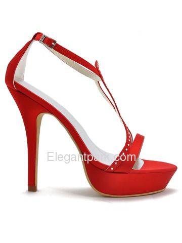 Elegantpark Red Stylish Satin Open Toe Rhinestones Platform Stiletto Heel Wedding & Prom Sandals (EP2118-PF)
