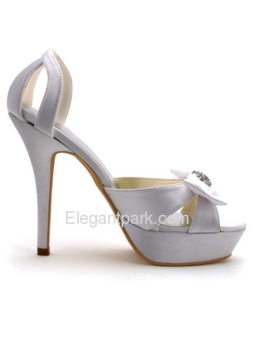 Elegantpark White Stiletto Heel Satin Rhinestones Bowknots Platform Wedding Party Sandals (EP2119-PF)