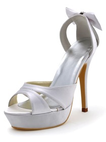 Elegantpark White Satin Platform Wedding Party Sandals with Rhinestones Bowknots on the Heelpiece
