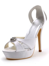 Elegant White Stiletto Heel Satin Platform Rhinestones Bridal Sandals