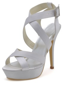 Elegantpark White Open Toe Satin Straps Buckle Stiletto Heel Platform Evening & Party Sandals