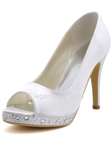 Elegantpark White Elegant Peep Toe Stiletto Heel Rhinestones Platform Satin Wedding Bridal Pumps (EP2125-PF)
