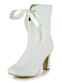 Elegantpark White Square Toe Satin Lace Fashion Evening & Party Bridal Boots