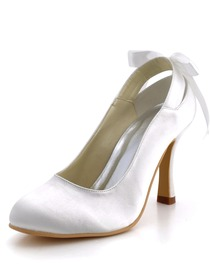 Elegant Satin Upper Pumps Ribbon Tie Stiletto Heel Wedding Evening Shoes