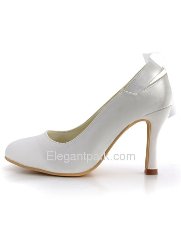 Elegant Satin Upper Pumps Ribbon Tie Stiletto Heel Wedding Evening Shoes (MM-1125)