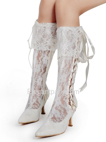 Elegantpark Lace Upper Pointy Toes Stiletto Heel with Ribbon Tie Modern Knee High Wedding Bridal Boots (MB-081)