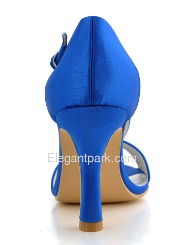 Elegantpark Blue Open Toe Stiletto Heel Satin Wedding Evening Party Shoes (0502D)