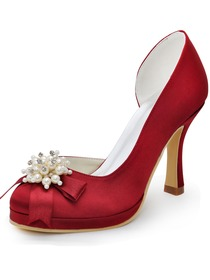 Elegantpark Red Round Toes Pearls Satin Pumps High Heel Rhinestones Platform Bridal Shoes