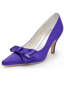 Elegantpark Purple Pointed Toe Cutouts Bow Stiletto Heel Satin Prom Shoes