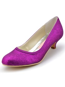 Elegantpark Closed Round Toe Pumps Glitter PU Prom Shoes