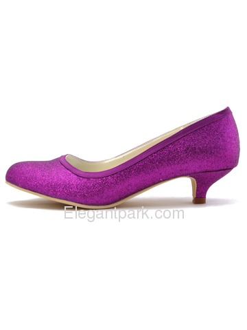 Elegantpark Closed Round Toe Pumps Glitter PU Prom Shoes (EP1077)