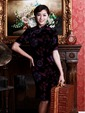 Purpur Knielang Single-Linie Velours Chinesisches Kleid/Cheongsam