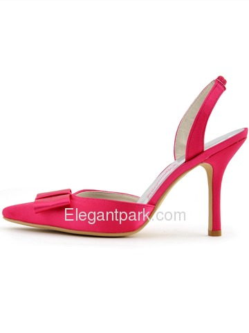 Elegantpark 2014 Sexy Hot Pink Pointed Toe Bow Slingback Stiletto Heel Satin Evening Party Woman Shoes (HC1404)