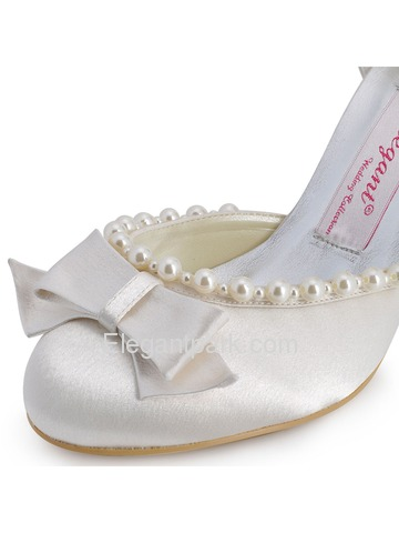 Elegantpark Satin Stiletto Heel Almond Toe Imitation Pearl Bridal Party Shoes With Bow (EP11067)