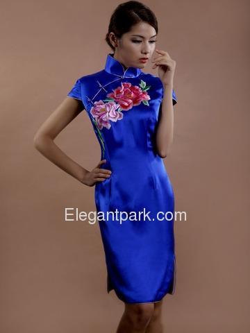 Blau Knielang Seide Chinesisches Kleid/Cheongsam – Elegantpark.com