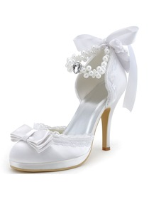 Elegant Closed Toe Stiletto Heel Bowknot Satin Bridal Evening Party Shoes A3202C-PF