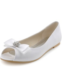Elegantpark White Peep Toe Bowknot Rhinestone Flat Satin Wedding Evening Party Shoes