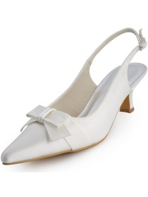 Elegantpark White Low Heel Satin Bridal Shoes