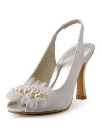 New 2015 Peep Toe Spool Heel White Ivory Satin Pearls Party Wedding Bride Shoes