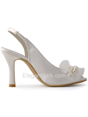 New 2015 Peep Toe Spool Heel White Ivory Satin Pearls Party Wedding Bride Shoes (HP1419)