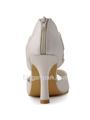 Elegantpark New 2015 Peep Toe Spool Heel Strappy Party Prom Bridal Shoes (HP1420)