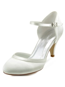 Elegantpark New White Ivory Satin Closed Toe Kitten Heels Strap Wedding Shoes