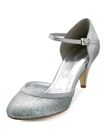 Elegantpark New Glitter PU Silver Closed Toe Kitten Heels Party Shoes (HC1510)