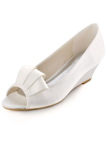 Elegantpark New Arrival Peep Toe Ribbon Satin Wedge Heel Wedding Shoes
