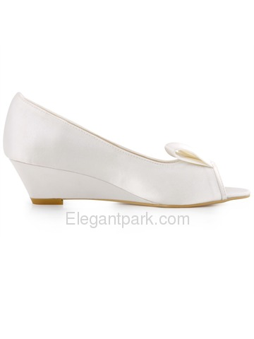 Elegantpark New Arrival Peep Toe Ribbon Satin Wedge Heel Wedding Shoes (WP1518)