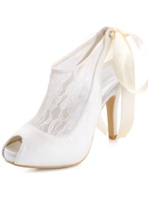 Elegantpark Women's Ivory Peep Toe Stiletto Heel Slingback Satin Lace Wedding Pumps