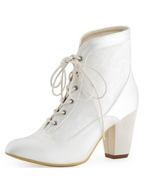 ElegantPark New Arrival Closed Toe Chunky Heel Satin Lace Bridal Wedding Boots